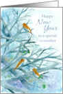 Happy New Year Co-Worker Bluebirds Winter Trees Watercolor card