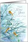 Happy New Year To Both of You Bluebirds Winter Trees Watercolor card