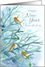 Happy New Year From All of Us Bluebirds Winter Trees Watercolor card