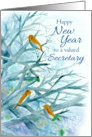 Happy New Year Secretary Bluebirds Winter Trees Watercolor card