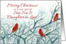 Merry Christmas Step Son and Daughter in Law Red Cardinals card