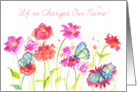 Change of Name Announcement Watercolor Wildflowers Butterfly card