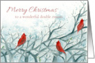 Merry Christmas Double Cousin Red Cardinal Birds Watercolor card