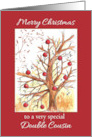 Merry Christmas Double Cousin Winter Tree Watercolor Art card