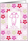 Thank You Special Pet Groomer Poodle Dog Flowers card