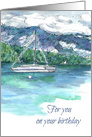 For You On Your Birthday Sailboat Winter Mountain Lake card
