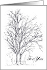 Happy Birthday Winter Tree Pen and Ink Drawing card