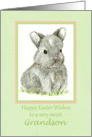 Happy Easter Grandson Grey Bunny Rabbit Drawing card