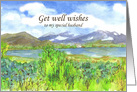 Get Well Wishes Special Husband Lake Painting card
