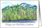 Happy 40th Birthday Godson Mountain Landscape Watercolor card