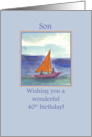 Happy 40th Birthday Son Sailing Watercolor Painting card