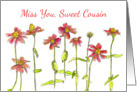 Miss You Sweet Cousin Red Zinnia Flowers Watercolor Art card