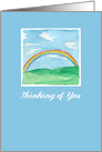 Thinking of You Rainbow Grass Hills Watercolor Painting card