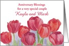 Custom Name Wedding Anniversary Blessings Red Tulips card