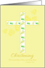 Christening Congratulations White Floral Cross Yellow Daisy card