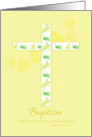 Baptism Congratulations White Floral Cross Yellow Daisy card