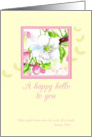 Hello Scripture Cherry Blossom Flower Watercolor Art card