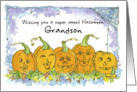 Happy Halloween Grandson Pumpkins Funny Faces Spiders Illustration card