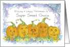 Happy Halloween Cousin Pumpkins Funny Faces Spiders card