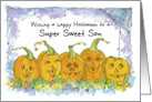 Happy Halloween Sweet Son Pumpkins Funny Faces Spiders card
