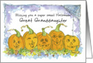 Happy Halloween Great Granddaughter Pumpkins Funny Faces Spiders card
