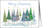 Merry Christmas Holiday Trees Drawing Snow card