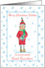 Merry Christmas Great Grandson Holiday Elf Snowflakes card