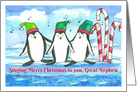 Merry Christmas Great Nephew Holiday Penguins card