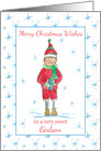 Merry Christmas Godson Holiday Elf Snowflakes card
