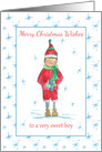 Merry Christmas To A Very Sweet Boy Elf Snowflakes card