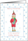 Merry Christmas Custom Name To A Very Sweet Boy Holiday Elf card