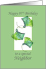 Happy 97th Birthday Neighbor Green Leaves Illustration card