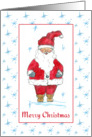Merry Christmas Santa Claus Blue Snowflakes Watercolor Art card