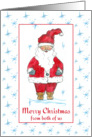 Merry Christmas From Both of Us Santa Claus Blue Snowflakes card