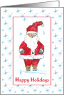 Happy Holidays Santa Claus Blue Snowflakes card