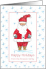 Happy Holidays Custom Name Card Santa Claus Blue Snowflakes card