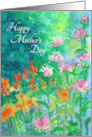 Floral Mother's Day Card Pink Bee Balm Garden Watercolor Painting card