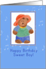 Happy Birthday Sweet Boy Bear Illustration Musical Notes card