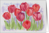 Happy Anniversary Red Tulips Watercolor Flower Garden card