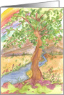 Happy Earth Day Mountain Rainbow Tree Stream card