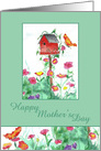 Happy Mother's Day Red Birdhouse Butterfly card