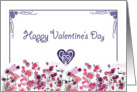 Happy Valentine's Day Purple Heart Pink Flower Meadow card