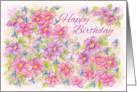Happy Birthday Pinks Flower Art Drawing card