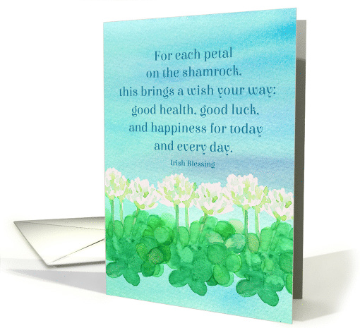 Happy St. Patrick's Day Wife Clover Watercolor Irish Blessing card
