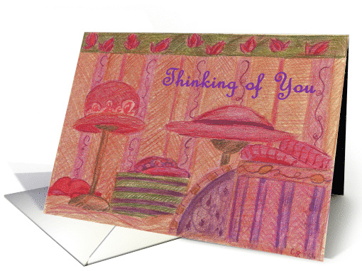 Thinking of You Red Hats Illustration of Ladies Red Hats card