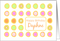 Happy Birthday Daphne Bright Flowers Colorful Polka Dots card