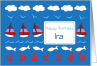 Happy Birthday Ira Sailboats Fish Red White Blue card
