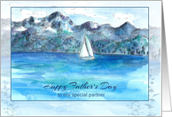 Happy Father's Day Partner Sailing Mountain Lake Watercolor card