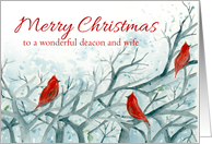 Merry Christmas Deacon and Wife Birds Winter Trees card