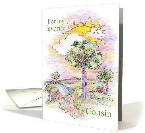 Happy Cousins Day Country Landscape Art Drawing card (1144228)